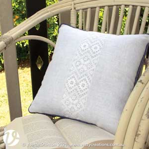 Frisian whitework square cushion