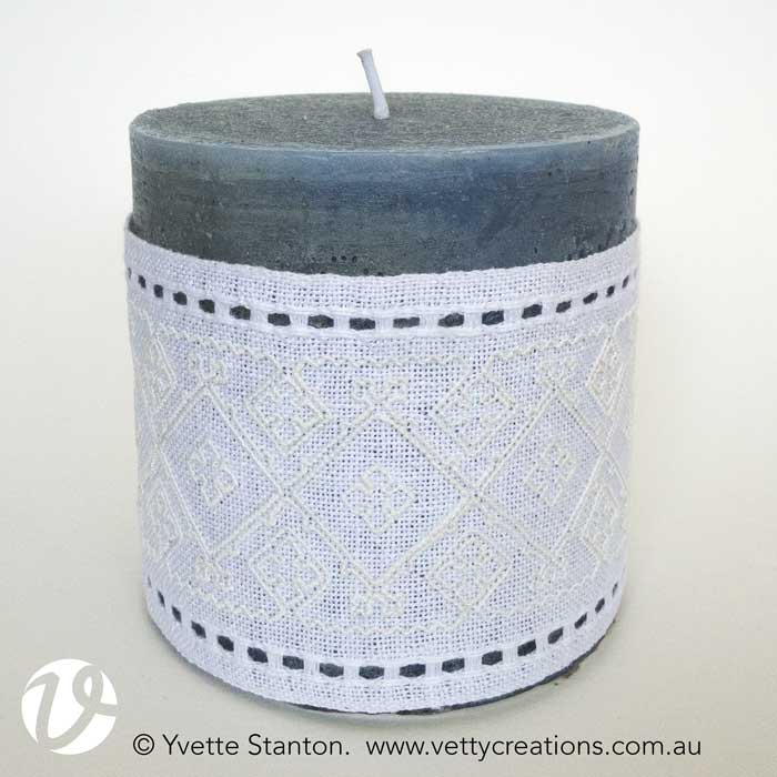 Sardinian knotted embroidery candle wrap