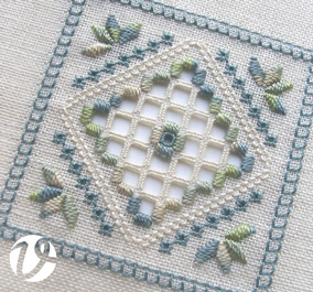 Blue green Hardanger panel