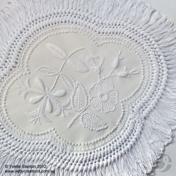 Mountmellick embroidery honeysuckle and dogrose doily class