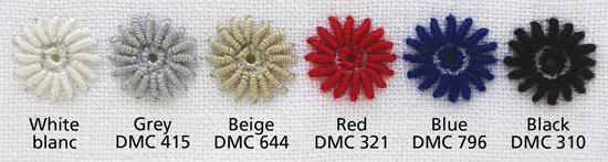 thread colours: white/blanc, grey/DMC415, beige/DMC644, red/DMC321, blue/DMC796, black/DMC310