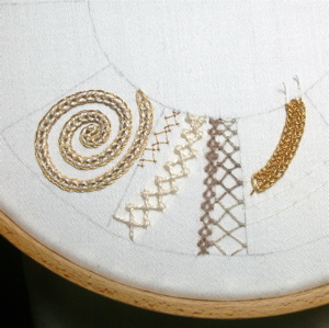 difficult stitches sampler, plaited braid stitch