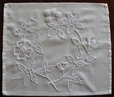 Pia's Snow White Mountmellick embroidery