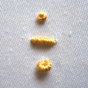 French knot and bullion knot comparison