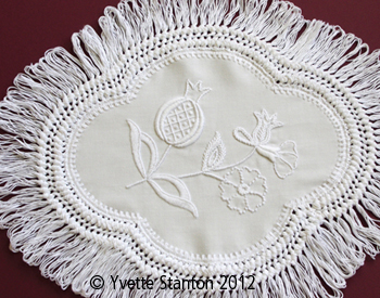 Mountmellick Pomegranate oval doily class with Yvette Stanton