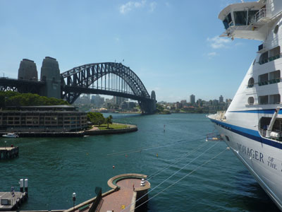 Docked right near the Sydney Harbour Bridge