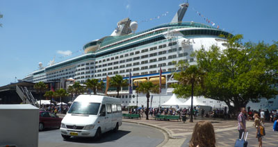 The Voyager of the Seas docked in Sydney