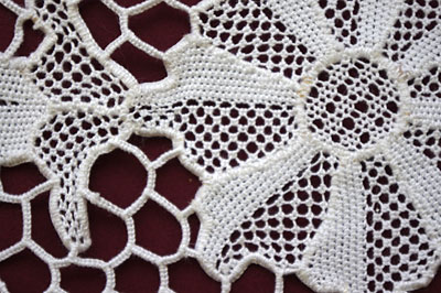 back of needlelace doily