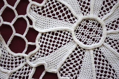 close up of needlelace doily