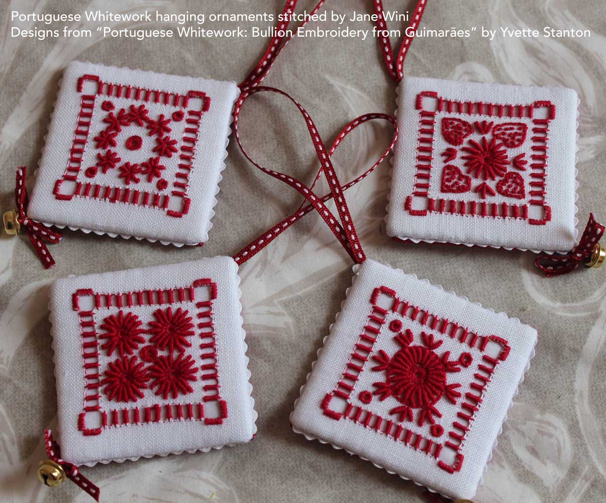 Customer embroidery: Portuguese Whitework ornaments