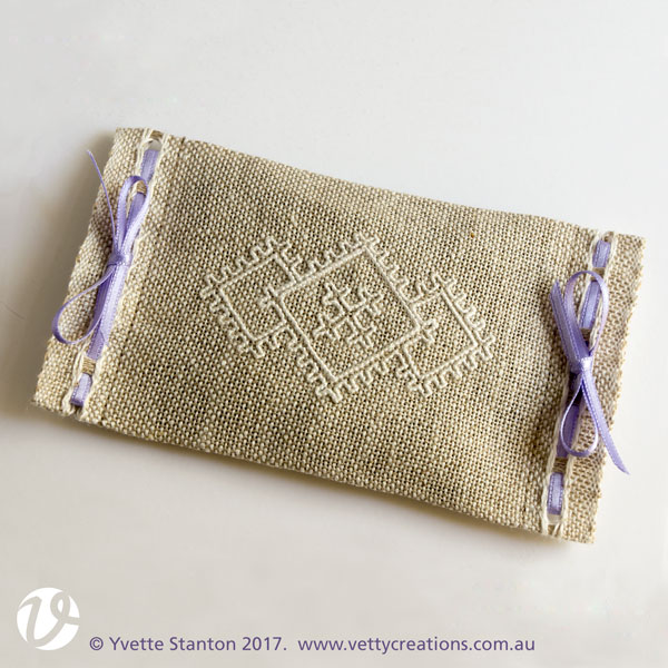Sardinian knotted embroidery lavender sachet beginners kit